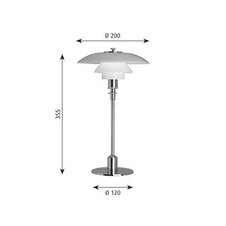 Afmetingen Louis Poulsen PH 2/1 Tafellamp in glas