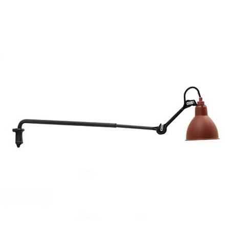 Wandlamp La Lampe Gras met zwart armatuur en rode kap