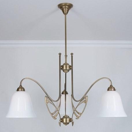 Victor Horta 3-lichts Kroonluchter Elegantie met klokvormige glaskappen