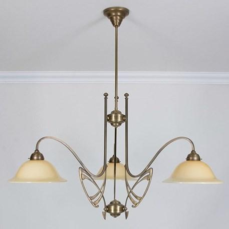 Victor Horta 3-lichts Kroonluchter Elegantie met ivoorkleurige glaskappen