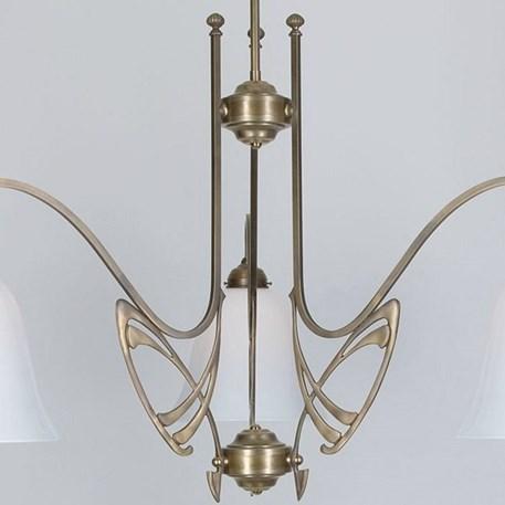 Victor Horta 3-lichts Kroonluchter Elegantie Detail