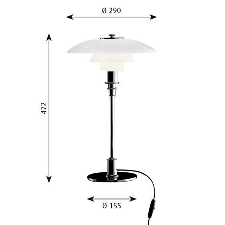 Afmetingen Louis Poulsen PH 3/2 Tafellamp in glas