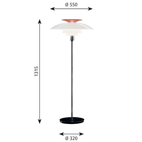 Afmetingen Louis Poulsen PH 80 Vloerlamp