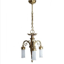 Kroonluchter 3-lichts met Kleine Kappen Geëtst