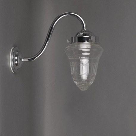 Zwanenhals wandlamp voor buiten, met heldere glaskap