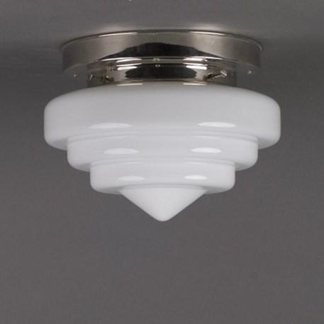 Plafonniere Trappunt in opaal wit glas met strak nikkel armatuur