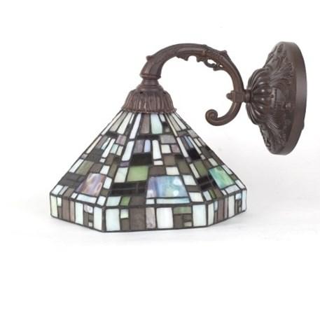 Wandlamp met bronzen armatuur en glaskap Mosh met diverse groentinten