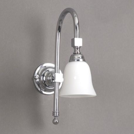 Badkamer wandlamp Bell Grote Boog met opaal witte, open glaskap