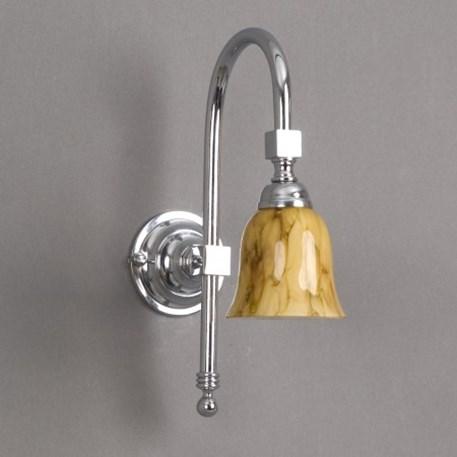 Badkamer wandlamp Bell Grote Boog met gemarmerde, open glaskap