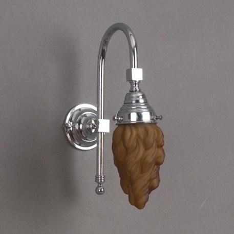 Badkamerlamp Vlam Grote Boog met bruine glaskap en chroom armatuur