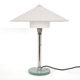 Bauhaus Tafellamp 1928 met Linnen Kap