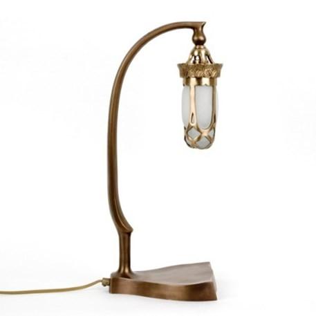 Tafellamp Jugendstil Unica in Brons met kleine glaskap