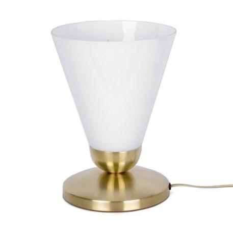 Tafellamp Slanke cono Uplighter met messing armatuur en wit opaal glas