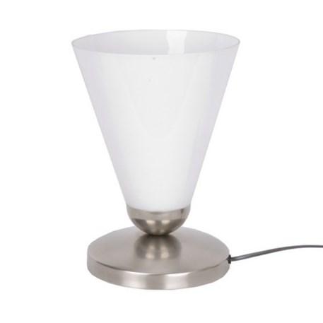 Tafellamp Slanke cono Uplighter met matnikkel armatuur en wit opaal glas