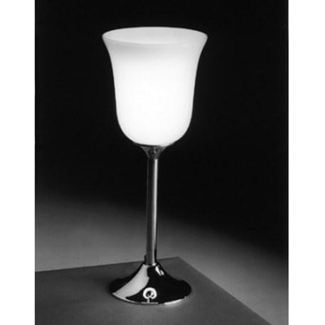 Sfeerfoto Tafellamp Tulp met tulp vormige open glaskap en glanzend nikkelen voet