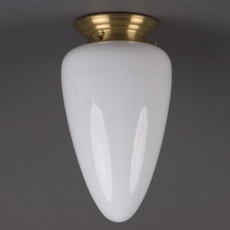Plafonniere Menhir middel in opaal wit glas met afgerond messing armatuur