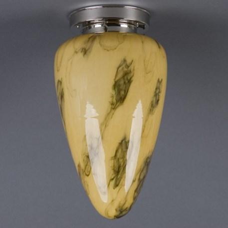 Plafonniere Menhir middel in marmer glas met strak glanzend nikkel armatuur