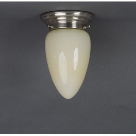 Plafonniere Menhir klein in zachtgeel glas met afgerond matnikkel armatuur