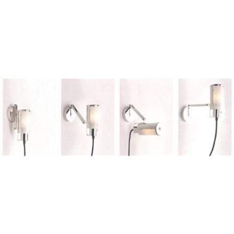 Multifunctionele lamp met snoer, stekker en draaischakelaar. Hier is afgebeeld wat de mogelijkheden zijn.