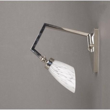 Wandlamp in de vorm van een kraanvogel met glanzend vernikkeld armatuur