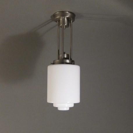 Plafonniere / Hanglamp 3 buizen Pendel in matnikkel met opaal getrapte cilinder