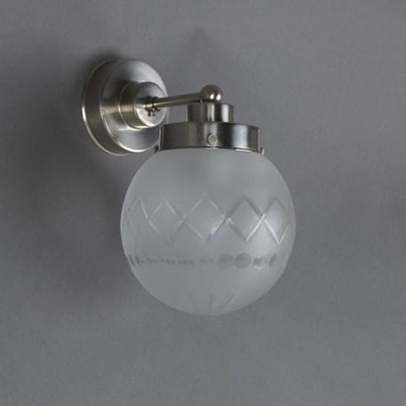 Wandlamp Geslepen Bol Ets met matnikkel armatuur