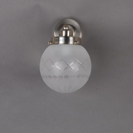 Vooraanzicht wandlamp Geslepen Bol Ets met matnikkel armatuur