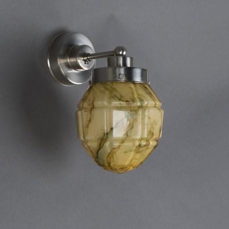 Wandlamp Windows Bol met matnikkel armatuur en gemarmerde glaskap