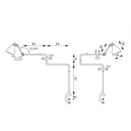 Technical sheet met afmetingen en rotatiemogelijkheden