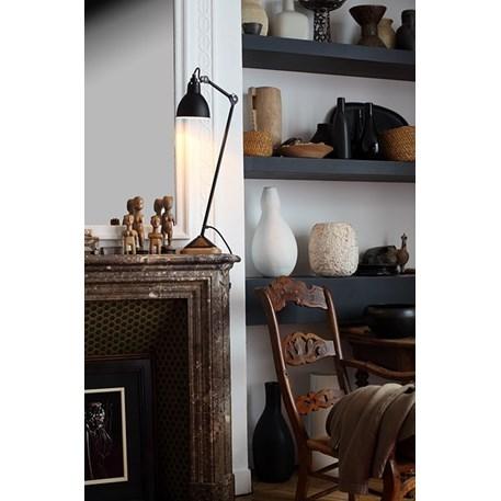 Tafellamp La Lampe Gras met eiken voet en volledig satijnzwart afgelakt