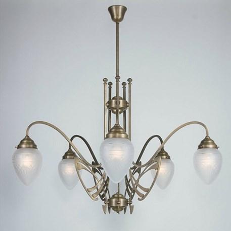 Victor Horta Kroonluchter Elegantie met geëtste glaskappen