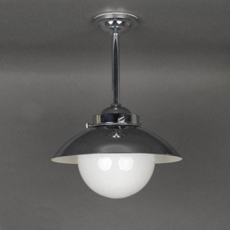 Buiten-/Badkamer Hanglamp Bol met Metalen Kap