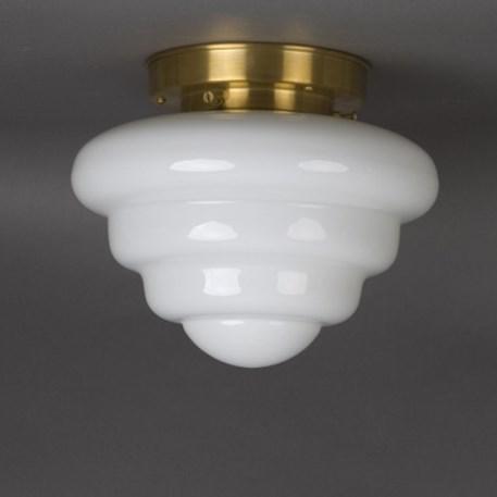 Plafonniere Michelin in opaal wit glas met strak gematteerd messing plafondplaat