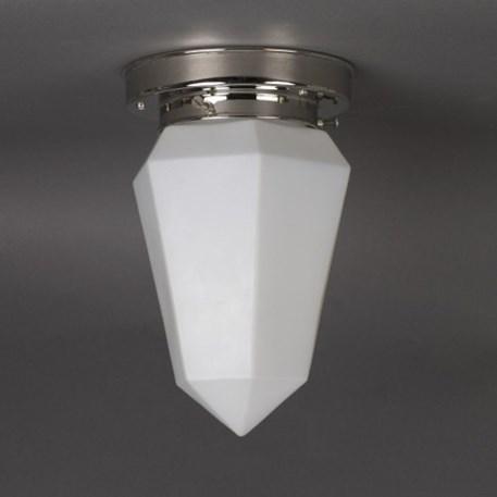 Plafonniere Briljant in mat opaal wit glas met strak nikkel armatuur