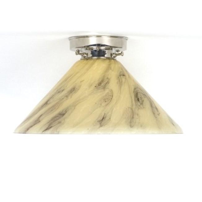 Plafonniere Cono in marmer glas met strak glanzend armatuur