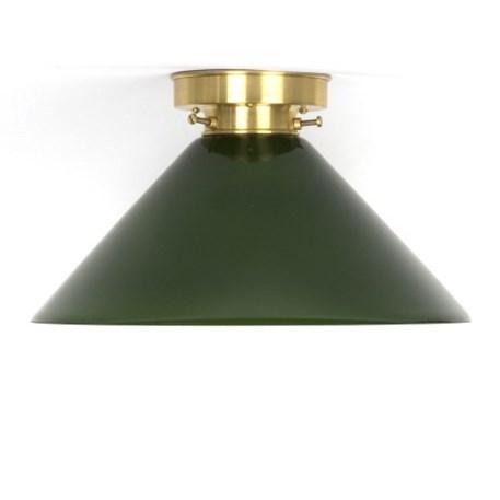 Plafonniere Cono in groen glas met strak messing armatuur