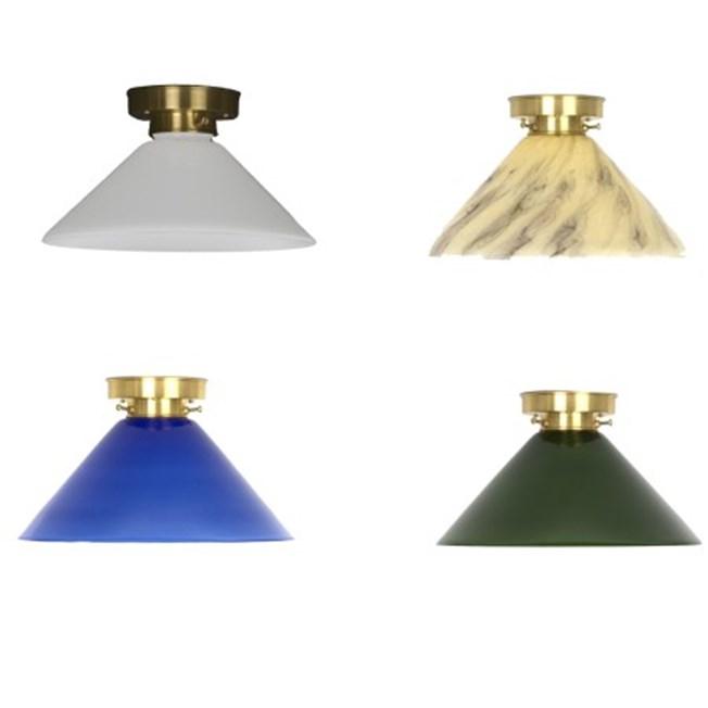 Overizcht plafonniere Cono met opaal, zachtgeel, marmer, blauw of groen glas