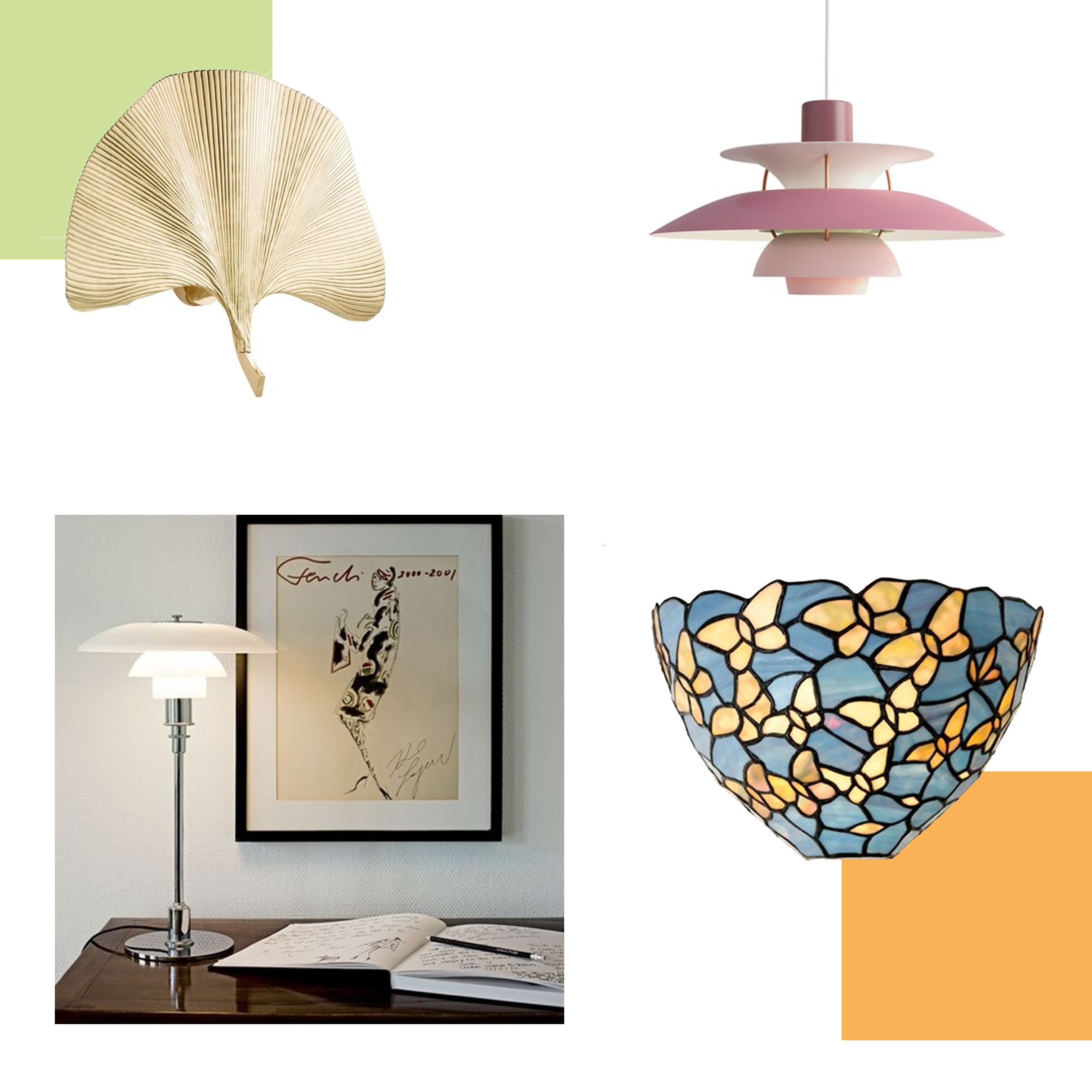 Golden Ginkgo Leaf Wandlamp, Louis Poulsen PH 5 Hanglamp Rose, Louis Poulsen PH 3/2 Tafellamp, Tiffany Wandlamp Fly Away